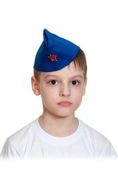Детская синяя пилотка со звездой