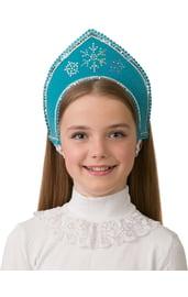 Детский голубой кокошник Снежинка
