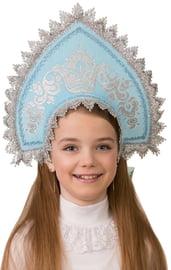 Детский голубой кокошник с серебром