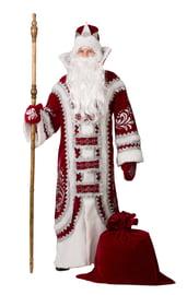 Взрослый костюм Деда Мороза бордовый
