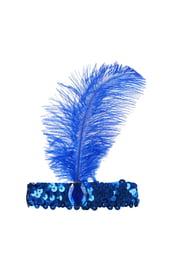 Синее украшение на голову с пером