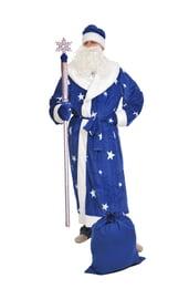 Синий костюм деда Мороза со звездами