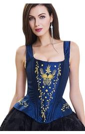 Синий корсет с золотой вышивкой