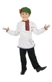 Белая детская льняная косоворотка