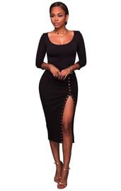 Черное вечернее платье с вырезом