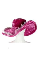 Розовая бархатная шляпа с кружевами