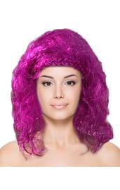 Фиолетовый кудрявый парик