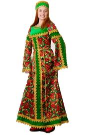 Взрослый народный костюм Зеленая Хохлома
