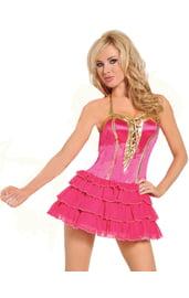 Розовое платье с золотой шнуровкой