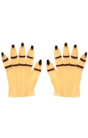 Перчатки руки с черными ногтями