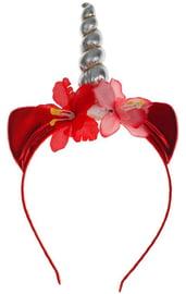 Красный ободок Единорог с цветочками