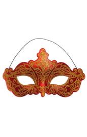Красная карнавальная маска с золотом