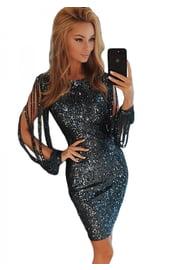 Черное платье с блестками