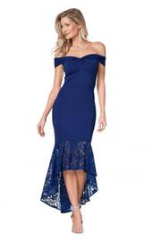 Синее платье с кружевным подолом