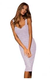Сиреневое блестящее платье