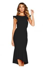 Черное праздничное платье с воланами