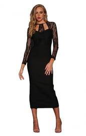 Длинное черное платье с кружевом