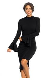 Черное закрытое платье до колен