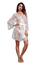 Белый кружевной прозрачный халат