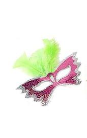 Маска бабочка с зелеными перьями