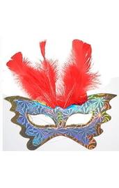 Маска бабочка с красными перьями