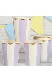 Бумажные полосатые стаканы 6 шт