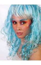 Бело-голубой кудрявый парик