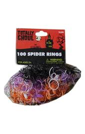 100 разноцветных колец с пауками