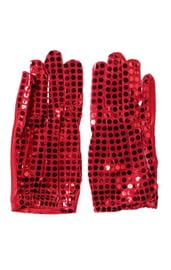 Перчатки с блестками красные