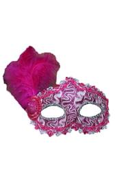 Малиновая маска с пером
