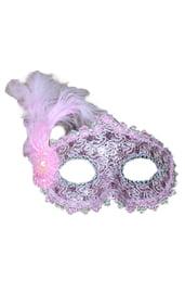 Розовая маска с пером