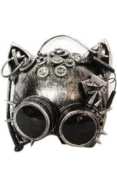 Серебристая маска кошки Стимпанк