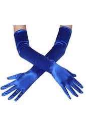 Длинные синие перчатки