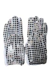 Перчатки с блестками серебряные