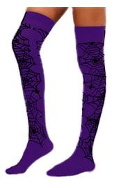 Фиолетовые чулки с пауками