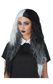 Черно-белый длинный парик