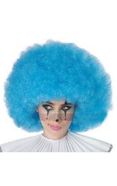 Голубой кудрявый парик клоуна