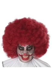 Красный кудрявый парик клоуна