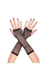 Удлиненные черные сетчатые перчатки