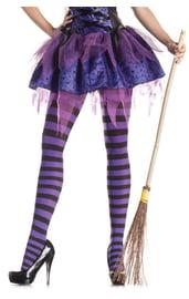Полосатые черно-фиолетовые колготки