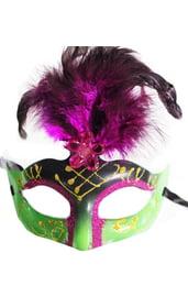Карнавальная маска с розовыми перьями