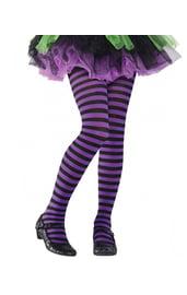 Детские полосатые черно-фиолетовые колготки