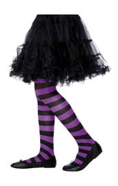 Детские фиолетово-черные полосатые колготки