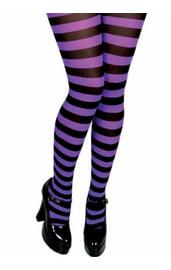 Фиолетово-черные полосатые колготки