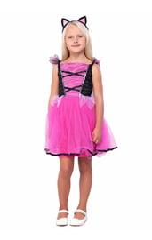 Детский черно-розовый костюм кошечки