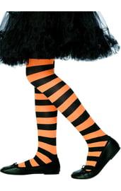 Детские оранжево-черные полосатые колготки