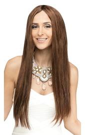 Длинный парик шатенки