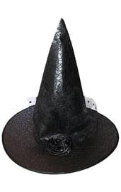 Черный колпак ведьмы с цветком