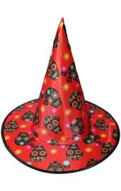 Детский красный колпак ведьмы с черными черепами