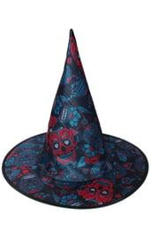 Детский синий колпак ведьмы с черепами